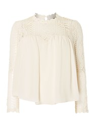 Red Soul Blouse With Laced Neck And Sleeves Off White