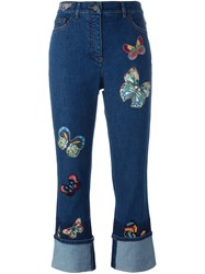 Valentino Butterfly Embroidered Jeans Blue