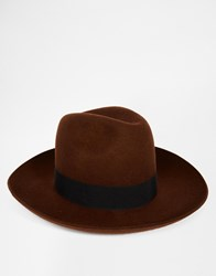 Asos Oversized Fedora In Brown Felt With Wide Brim And Turn Up