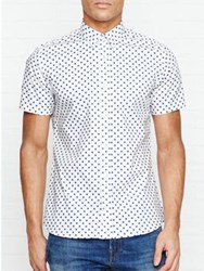 J. Lindeberg J Daniel Short Sleeve Polka Dot Shirt White Blue