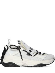 Dsquared 70Mm D Bumpy One Leather And Mesh Sneakers White