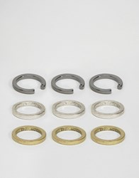 Asos Geometric Cut Away Ring Pack Multi