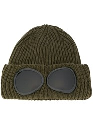 C.P. Company Cp Ribbed Beanie With Smoked Lenses Green