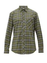 Burberry Tb Embroidered Checked Cotton Blend Shirt Green