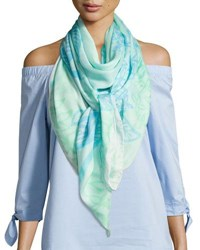 Anna Coroneo Square Hydrangeas Scarf Light Blue