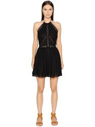 Charo Ruiz Cotton Voile And Lace Halter Dress