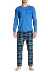 Bottoms Out Long Sleeve Tee And Woven Pj Pant Set Blue