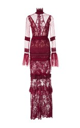 Costarellos Chantilly Lace Mock Neck Sheath Gown Red