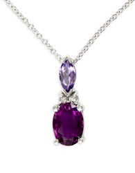 Effy Tanzanite Amethyst Diamond 14K White Gold Necklace Purple