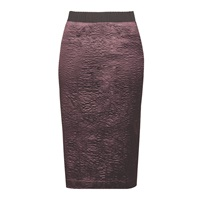 Moka London Clarissa Rippled Satin Pencil Skirt Red