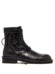 Ann Demeulemeester Lace Up Leather Combat Boots Black