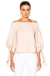 Tibi Off Shoulder Sculpted Top In Pink