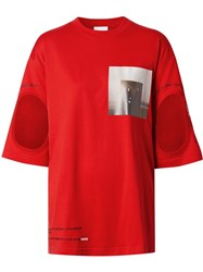 Burberry Cut Out Detail Montage Print Oversized T Shirt Red