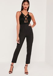 Missguided Lace Eyelet Harness Jumpsuit Black