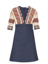 Vanessa Bruno Ely V Neck Embroidered Dress Blue Multi