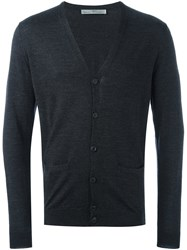 Daniele Alessandrini V Neck Button Down Cardigan Grey