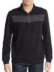 Calvin Klein Colorblock Zip Front Sweater Black
