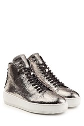 Mcq By Alexander Mcqueen Metallic Leather High Top Sneakers