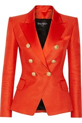 Balmain Duchesse Satin Trimmed Woven Cotton And Silk Blend Blazer Tomato Red