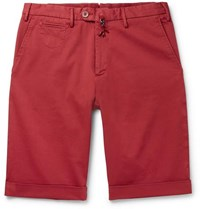 Isaia Cotton Blend Twill Bermuda Shorts Red