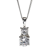 Nina B Sterling Silver Double Cubic Zirconia Drop Pendant