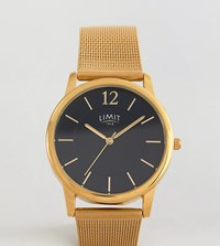 Limit Gold Mesh Watch With Black Dial Exclusive To Asos Gold