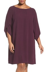 Eileen Fisher Plus Size Women's Silk Georgette Crepe Ballet Neck Shift Dress