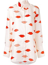 Victoria Beckham Lips Print Loose Fit Shirt Nude Neutrals