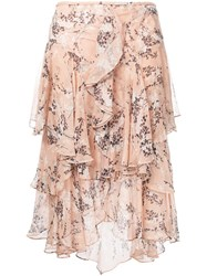 Jason Wu Draped Ruffle Skirt Nude Neutrals