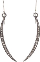Feathered Soul Women's Pave Diamond Moon Drop Earrings Colorless