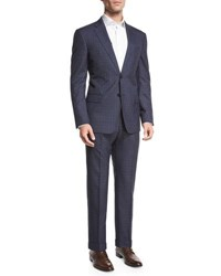 Armani Collezioni Textured Windowpane Check Two Piece Suit Navy