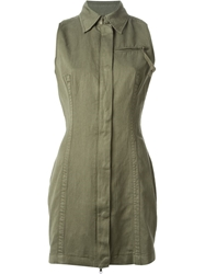 Diesel Military Style Shirt Dress Green