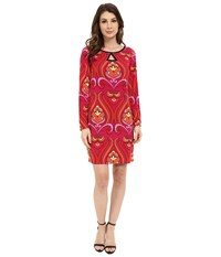 Laundry By Shelli Segal Long Sleeve Key Hole Print Dress Red Orange Women's Dress