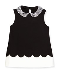Kate Spade Sleeveless Embellished Ponte Top Black White