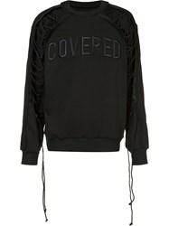 Juun.J Lace Sleeve Sweatshirt Black
