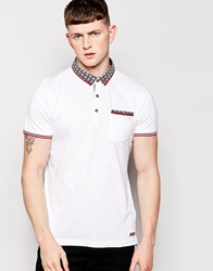 Brave Soul Pattern Collar Polo Shirt White
