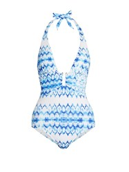 Heidi Klein Ventura Plunging Swimsuit Blue Multi