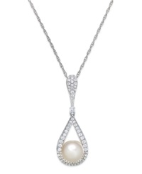 Macy's Cultured Freshwater Pearl 8Mm And Diamond 1 3 Ct. T.W. Pendant Necklace In 14K White Gold
