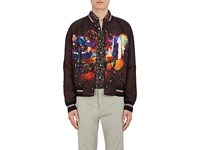 Lanvin Men's Flying Lobster Graphic Tech Satin Bomber Jacket Dark Brown Red Grey Blue Black White Navy Yellow O