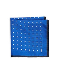Yves Saint Laurent Polka Dotted Silk Pocket Square Navy
