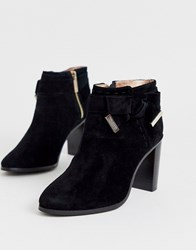 Ted Baker Anaedi Suede Bow Detail Heeled Ankle Boots Black