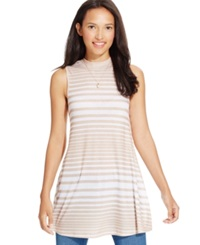 Eyeshadow Juniors' Sleeveless Striped Tunic Palomino White