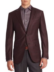 Ermenegildo Zegna Checked Wool And Silk Blend Blazer Dark Red