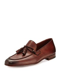 Magnanni Leather Loafer With Woven Tassels Medium Brown