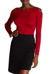 1.State Lace Up Shoulder Cotton Sweater Red