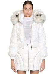 Byblos Quilted Pvc Bomber Jacket White