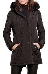 Lauren Ralph Lauren Women's Quilted Anorak With Faux Fur Trim Black