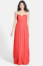 Women's Donna Morgan 'Laura' Ruched Sweetheart Silk Chiffon Gown Coral