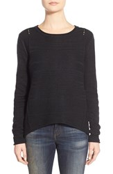 Petite Women's Jag Jeans Boat Neck Drop Tail Sweater Black