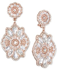 Jewel Badgley Mischka Crystal Cluster Drop Earrings Rose Gold